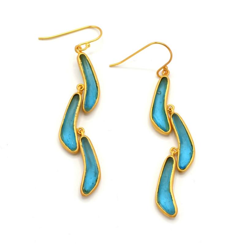 Boomerang Triple Drop Earrings - Blue