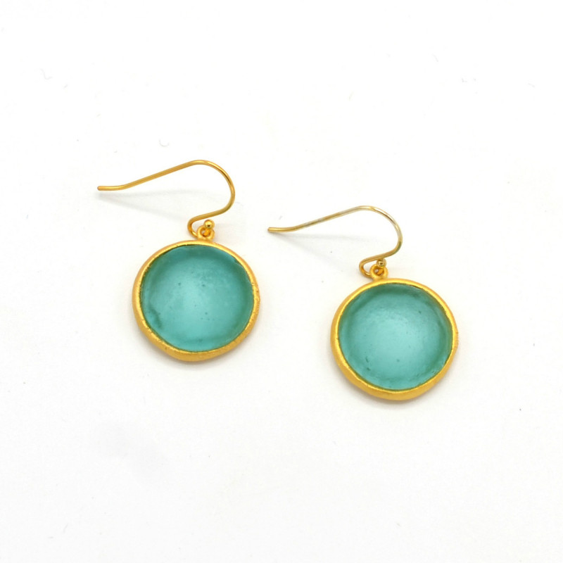 Bubble Round Earrings Small - Teal