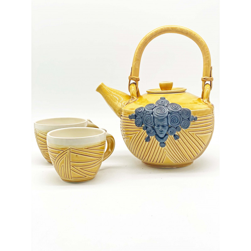 Carren Clarke Sharifa Ceramic Teapot + Cups