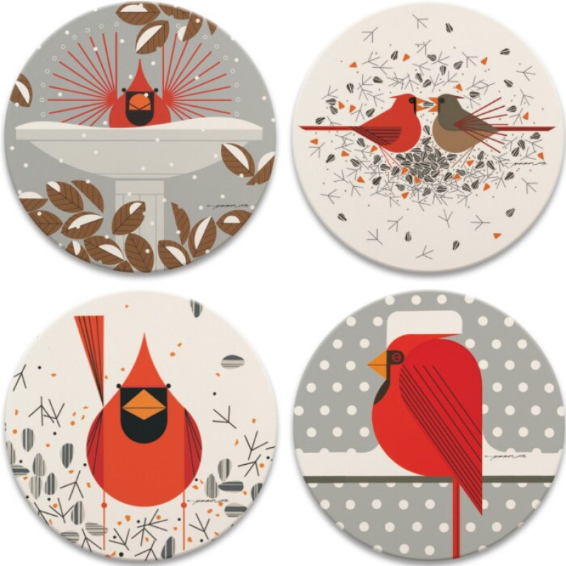 Charley's Cardinals Absorbent Stone Coaster Set