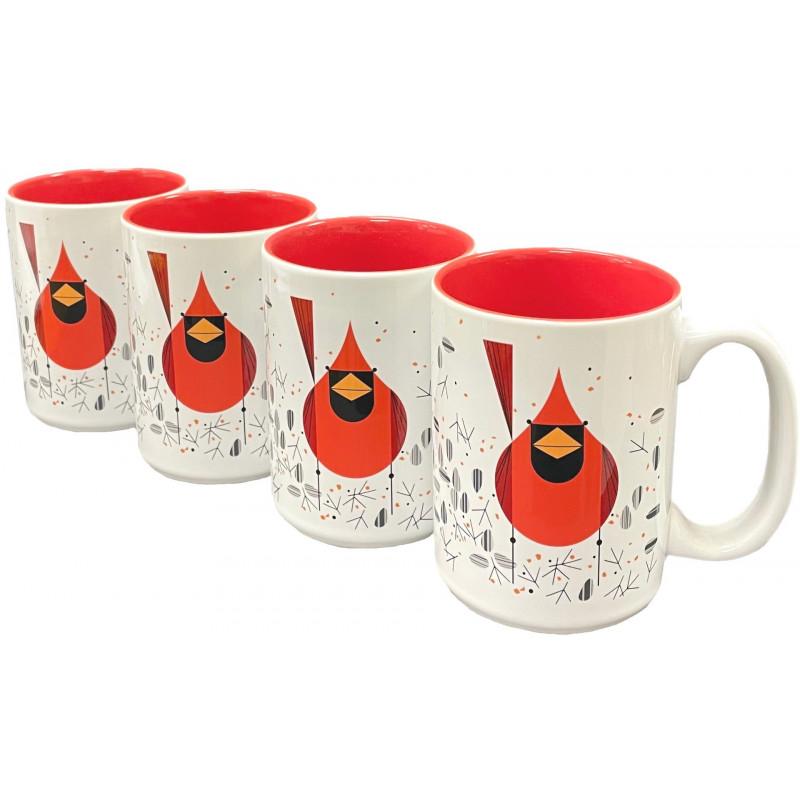 Cardinal and Seeds Grande Mug - Set of 4