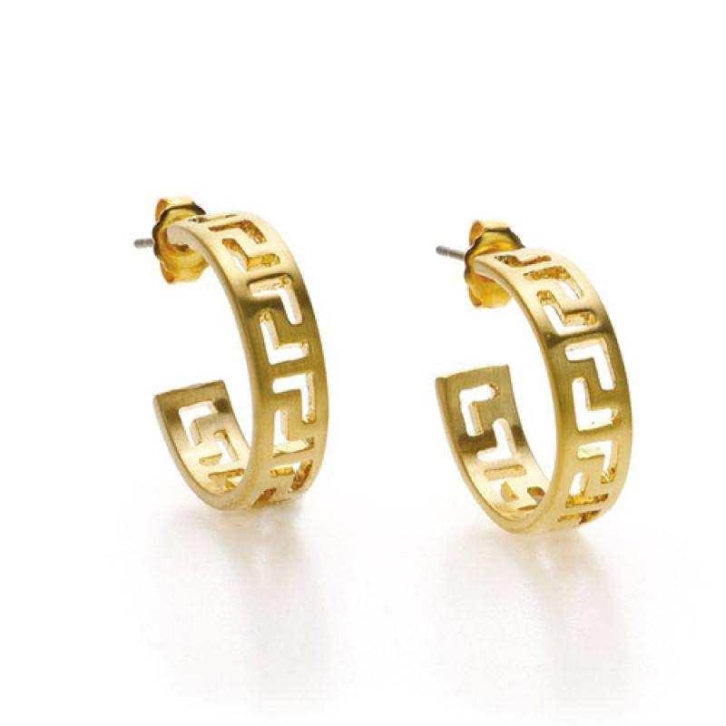 Classical Meander Hoop Gold Earrings