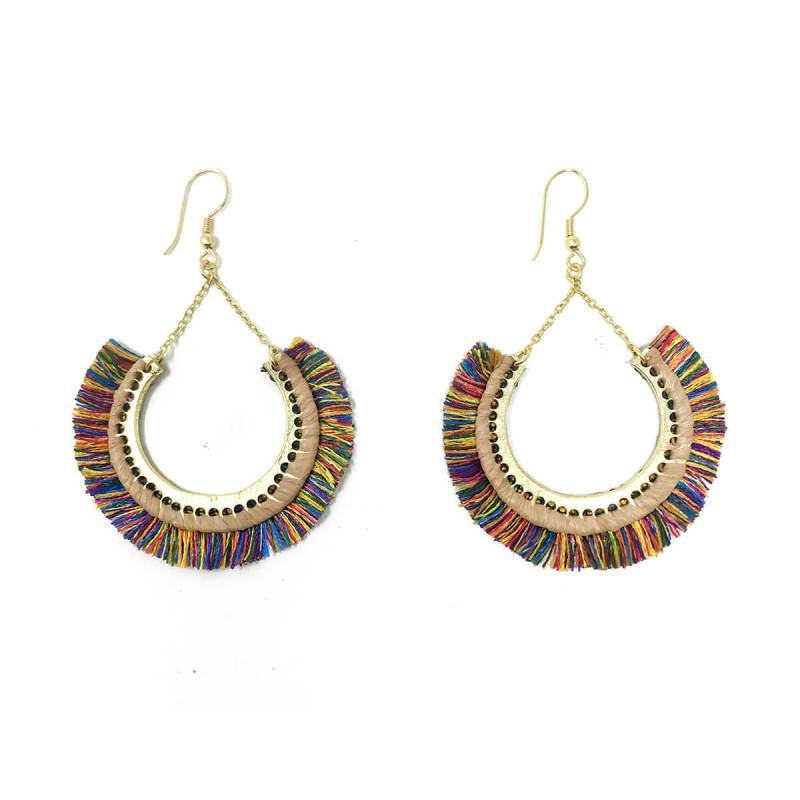 Contoured Fringe Earrings - Multi
