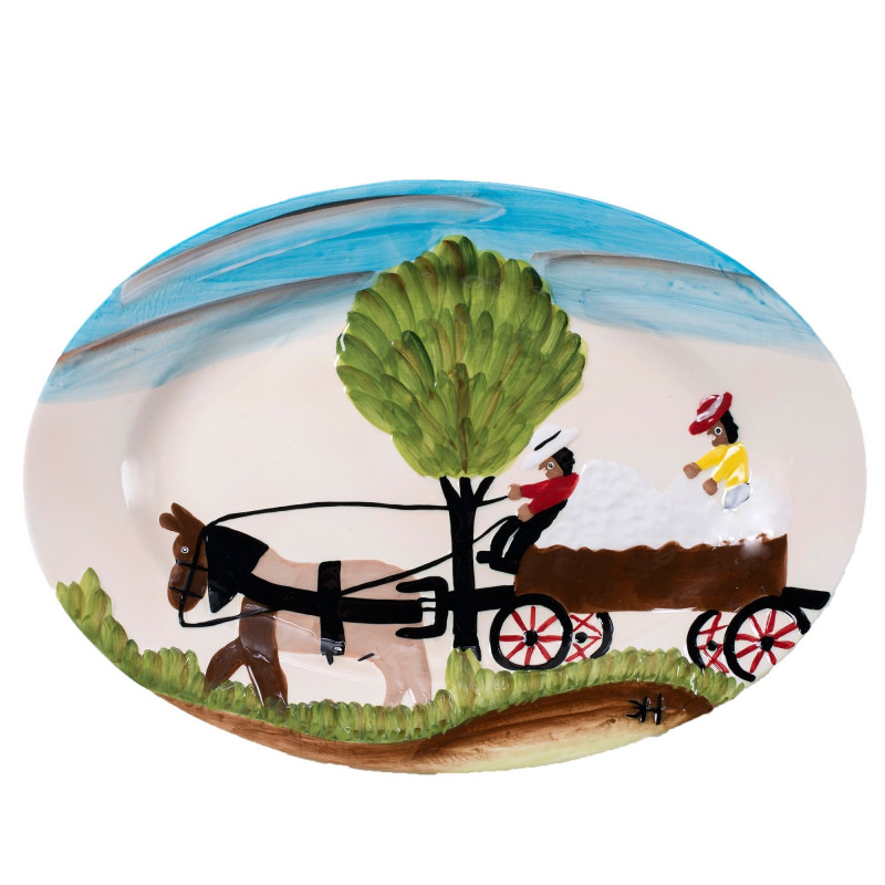 Clementine Hunter Cotton Wagon Oval Platter