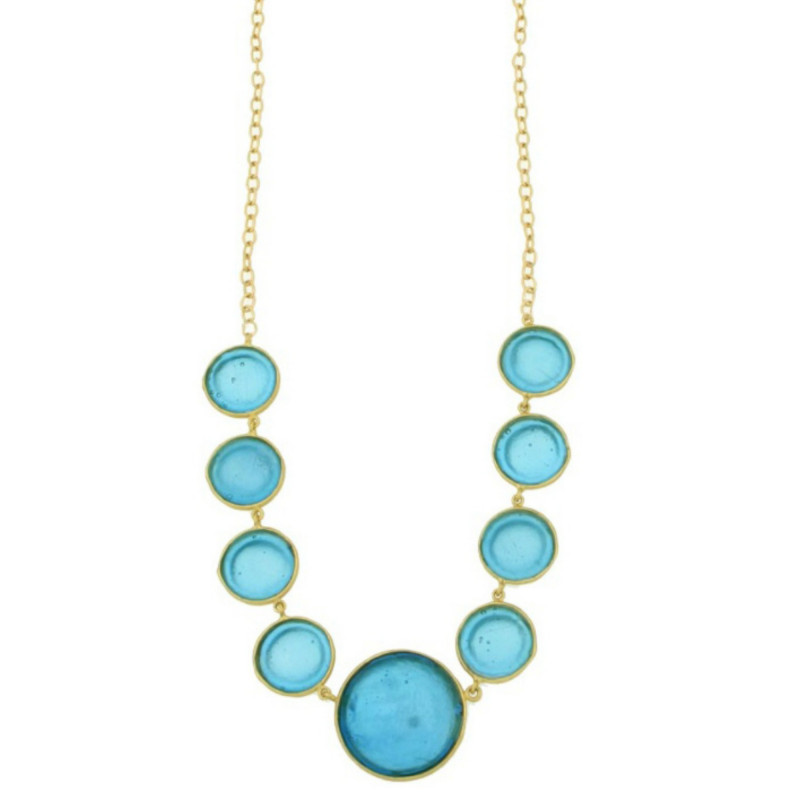 Bubble Geo 9-Stone Necklace - Blue