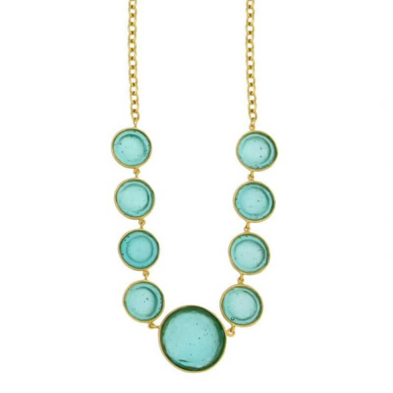 Bubble Geo 9-Stone Necklace - Teal