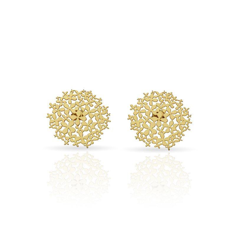 Hortensia Gold Button Earrings