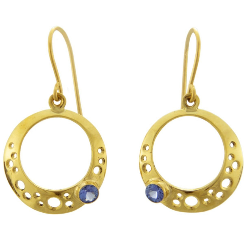 Bubble Hoop Earrings with Tanzanite