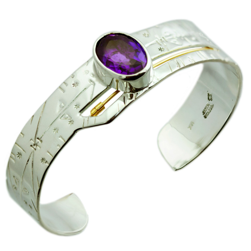 Jason McLeod Time Traveler Angled Cuff with Amethyst