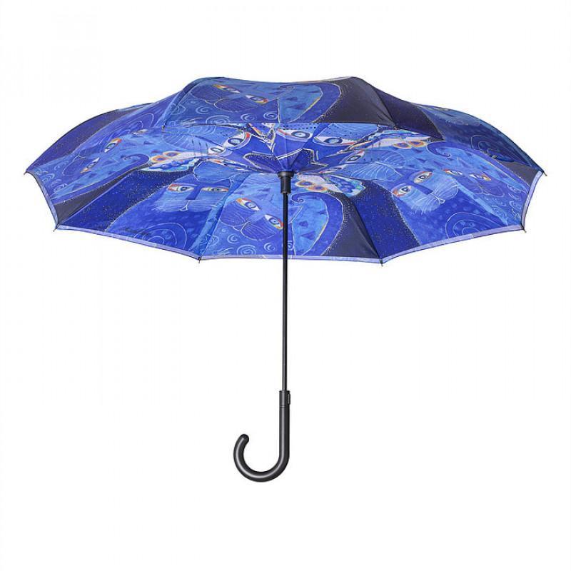 Laurel Burch Indigo Cats Stick Umbrella - Reverse Close