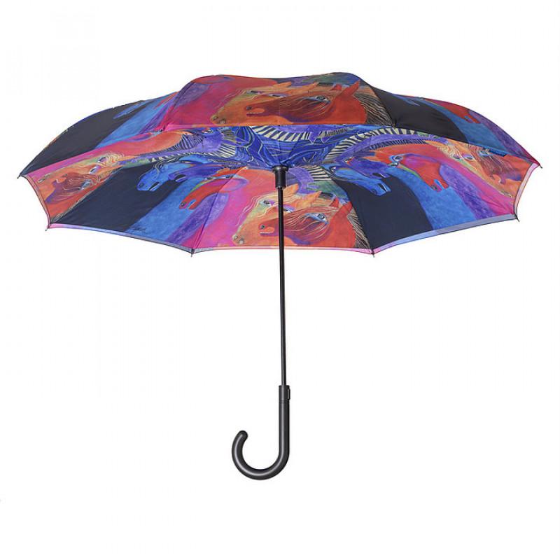 Laurel Burch Wild Horses of Fire Stick Umbrella - Reverse Close