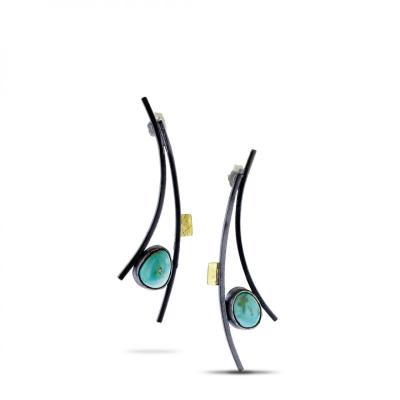 Lynn Harrisberger Blue Moon Fiesta Arc Earrings