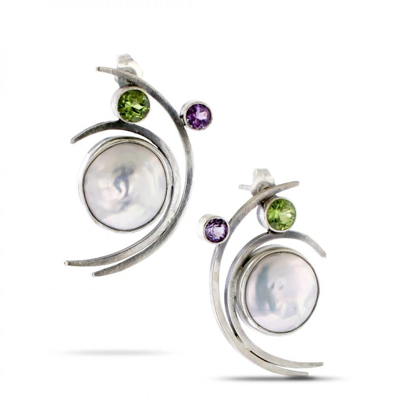 Lynn Harrisberger Rhumba Pearl, Peridot & Amethyst Fiesta Earrings