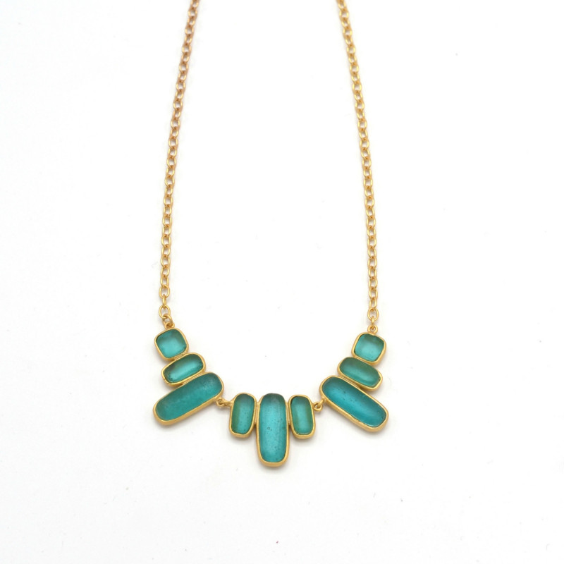 Bubble Geo Bar Necklace - Teal
