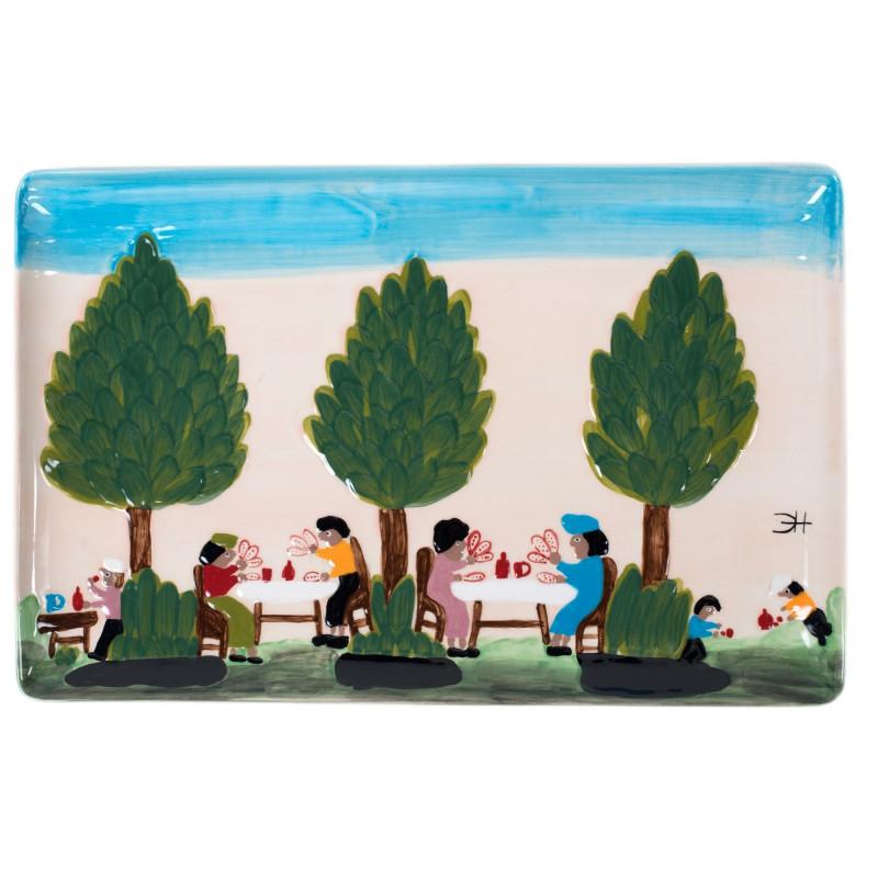 Clementine Hunter Playing Cards Rectangular Platter