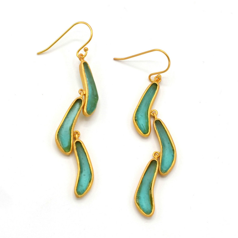 Boomerang Triple Drop Earrings - Teal