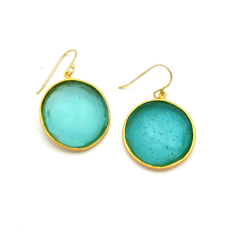 Bubble Round Earrings Large - Teal