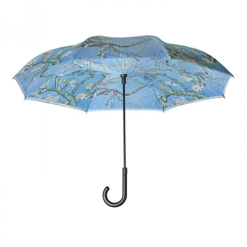 Van Gogh Almond Blossom Stick Umbrella - Reverse Close