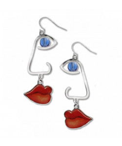 Cubist Profile Earrings - Sapphire Bead