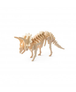DIY 3D Wooden Puzzle: Triceratops