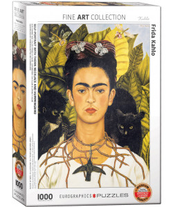 Frida Kahlo Self-Portrait with Thorn Necklace and Hummingbird Puzzle