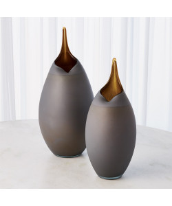 Frosted Grey Vase with Amber Casing - Sm or Lg