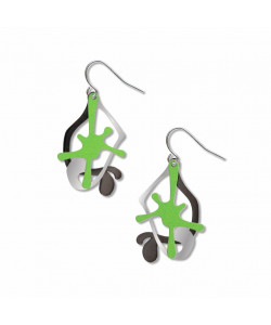 Splatters Earrings - Green/Black