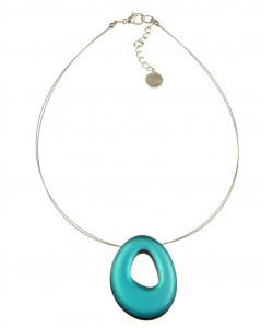 Hollow Nugget Pendant Necklace - Turquoise