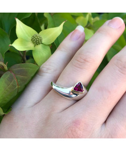 Jason McLeod Small World Ring with Trillion Rubellite