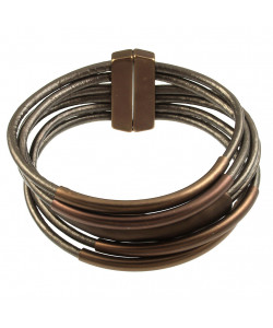 Leather Magnetic Bracelet - Coffee/Chocolate Brown