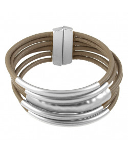 Leather Magnetic Bracelet - Taupe/Silver
