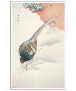 Ohara Shoson: Pair of Pheasants in Snow Holiday Cards