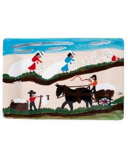Clementine Hunter Pickin' and Weighin' Cotton Rectangular Platter