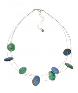 Round Metal Edge Turquoise & Sapphire Necklace