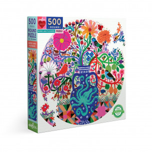 Birds and Flowers 500 Piece Round Puzzle