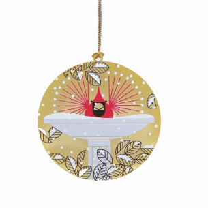 Charley Harper Brass Brrrrrdbath Brass Ornament
