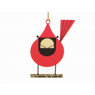 Charley Harper Brass Cardinal Close-Up Ornament