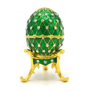 Fabergé Egg on Stand with Necklace Inside - Emerald