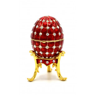 Fabergé Egg on Stand with Necklace Inside - Red