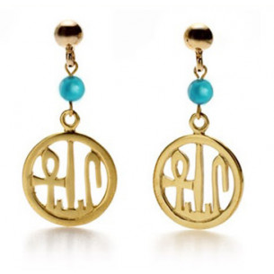Round Cartouche Earrings with Turquoise