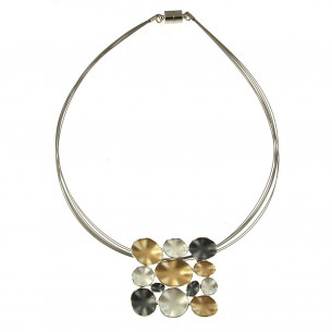 Square Metal Pendant Necklace - Silver/Gold/Grey